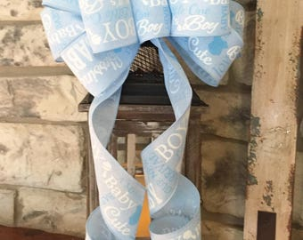 It's A Boy~Wired Edge Ribbon Bow for Wreath, Swag, Lantern~Timeless Floral Creations~Free Shipping