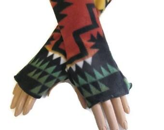 Native American Style Arm Warmers Fingerless Gloves Fleece Wrist Hand Warmers Gift For Her Handmade Harry Potter Christmas Women Hanukkah