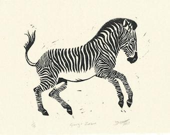 Grevy's Zebra, Original hand printed linocut of Zebra, gift, Zebra Art