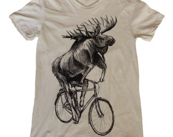 Moose on a bicycle - Womens T Shirt, Ladies Tee, Tri Blend Tee, Handmade graphic tee, sizes s-xL