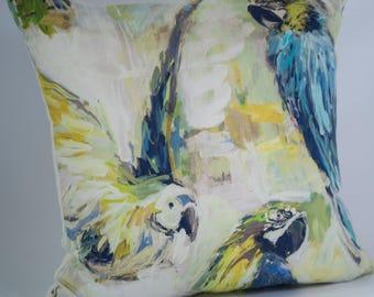 Bird-Cushion-Decorative-Pillow-Handmade-UK-Inner-Green-Blue-Yellow