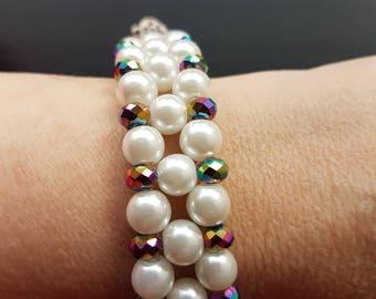 White and multi coloured  bead bracelet
