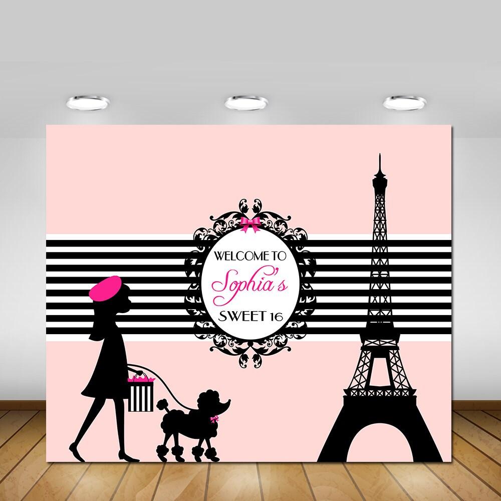 Paris Eiffel Tower Pillow 16 X 16: Parisian Vinyl Paris Themed Paris Eiffel Tower Sweet 16