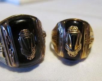 Matching Black Onyx Rings Gold Class Rings 1947 Mens Class Rings High School Mens Class Ring Mens sz 8 25 Ring 10K Vintage Class Rings