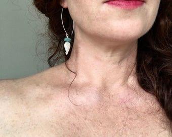 Summer earrings, Turquoise earrings, Long pearl drop earrings, Verdigris earrings, Big hook earrings