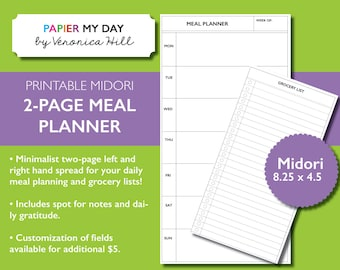 Midori Meal Planner and Grocery List - Printable Midori Meal Planner - Fits Regular Size Travelers Notebooks