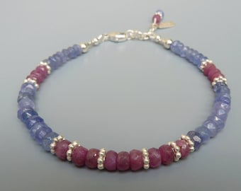 Tanzanite Bracelet, Tanzanite and Ruby, Ruby Bracelet, Gemstone Stacking Bracelet, Layering Bracelet, Stackable Bracelet,December Birthstone