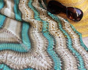 light bamboo shawl, summer shawl, striped shawl, beige turquoise shawl, made to order