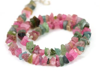 Tourmaline Rough Crystal Beads Half Strand Pink Green Blue Bi Color Semi Precious Gemstone