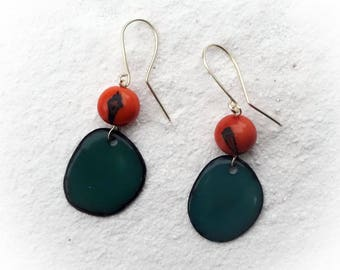 Tagua Earrings, Teal Earrings, Acai Seed Earrings, Eco-Friendly, Dangle Earrings