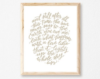 "Light Up the Sky 8x10"" Letterpress Print // HeartSwell // Art Print // Nature Print // Love Print"
