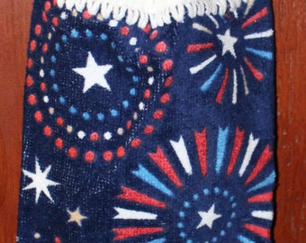Patriotic Fireworks Crochet Top Towel