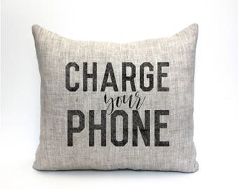 "charge your phone pillow, throw pillow, word pillow, phrase pillow, mother's day gift - ""charge your phone"""