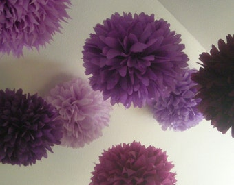 PURPLES / 10 tissue paper pompoms wedding aisle marker decorations bat mitzvah girl first birthday baby bridal shower lilac lavender plum