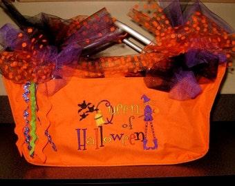 Halloween large Market Basket - Trick or Treat - Queen of Halloween