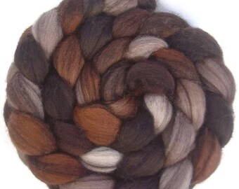 Handpainted Heathered BFL Roving - 4 oz. CAPPUCCINO - Spinning Fiber