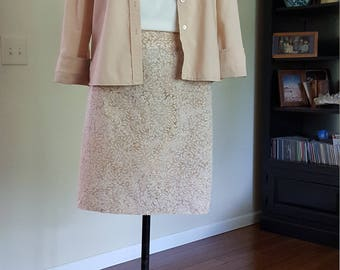 Taupe and white batik staight skirt.  Size Medium. Size 8.  Handmade USA.