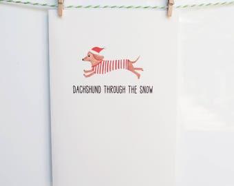 Dachshund Through the Snow Christmas Greeting Card