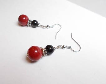 Red and black, silver glass Pearl Earrings