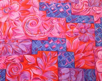 Pink and Purple Fabric / Tuscany Tiles / Cotton Fabric / Hoffman International - 1 Yard - Quilting Fabric / Cotton Yardage / Pink Floral