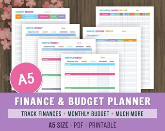 A5 Finance and Budget Planner, Printable Financial Planner, Expense Tracker, Monthly Savings Plan, Personal Finance Printable Set, Budget