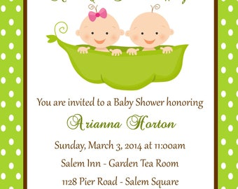 Twin Baby Shower Invitation - Peas in a Pod - Printable (Digital File) Plus FREE Diaper Raffle Ticket