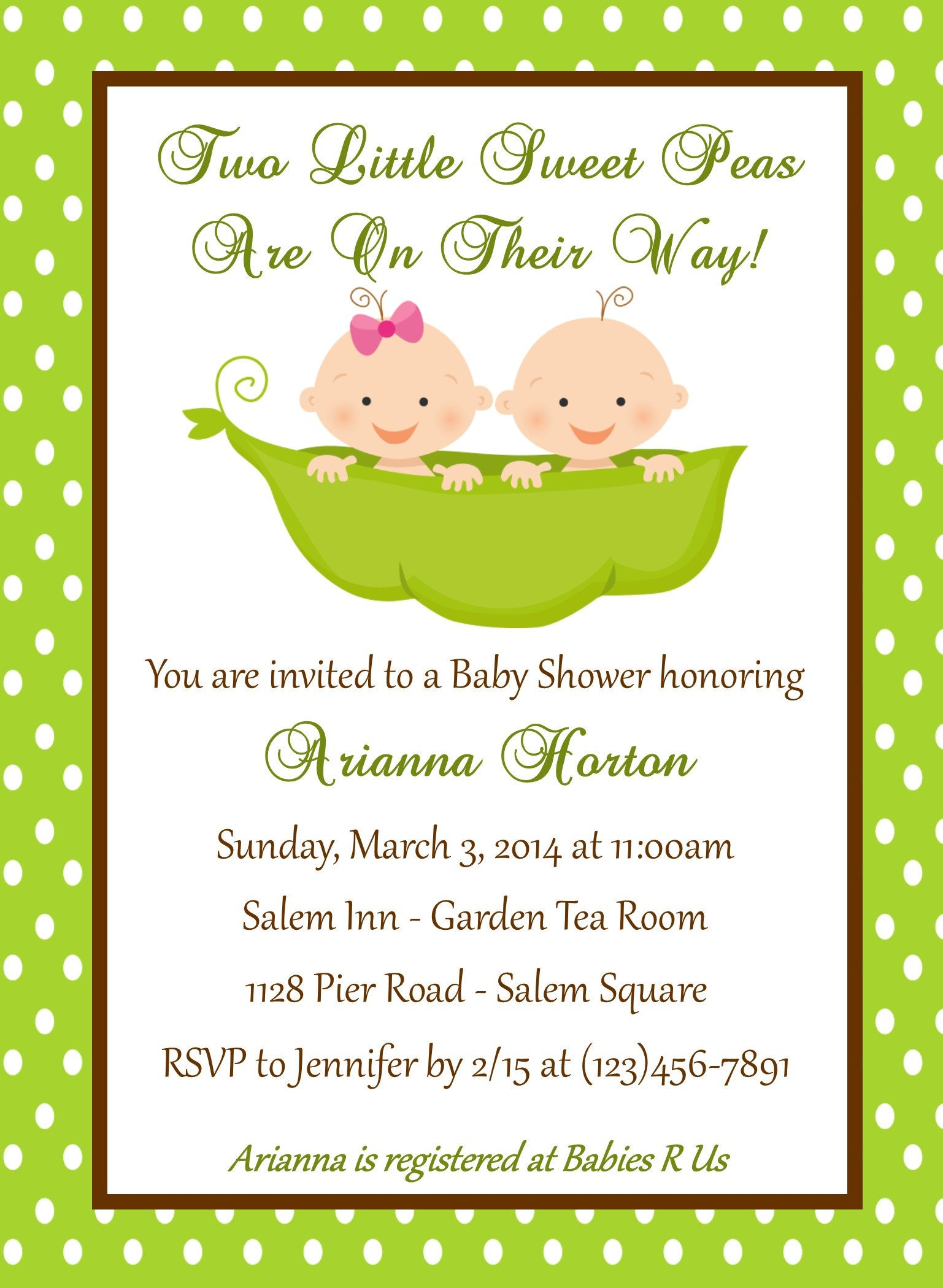 Twin Baby Shower Invitation Peas in a Pod Printable