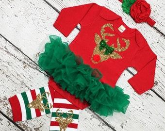 Christmas Reindeer outfit.Reindeer  baby girl Bodysuit set,,Reindeer Christmas set.Reindeer legwarmer,Reindeer Holiday outfit