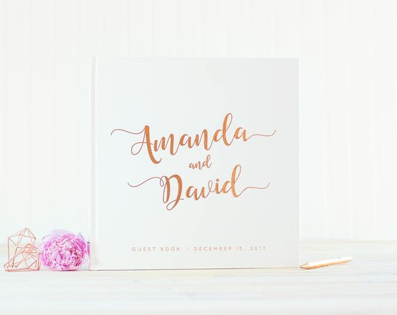 Wedding Guest Book with Rose Gold Foil guestbook 12x12 wedding photo book personalized instant photo book wedding scrapbook wedding gift