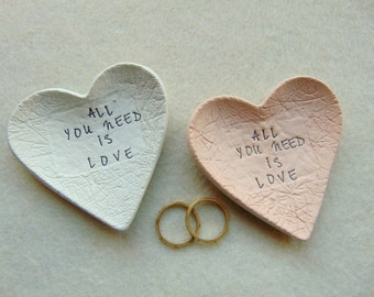All You Need is Love Wedding Favors, Heart Dish Favors, Clay Favors, Ring Bearer Dish
