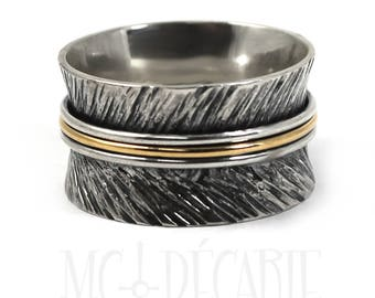 12mm gold and silver band with texture,feather ring,text inside available,solid sterling silver oxidized,silver and gold ring,3 middle rings
