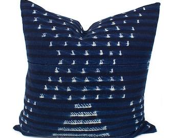 Vintage African Indigo Pillow Cover, Blue & White African Mud Cloth, Authentic Mudcloth Pillow Cover | 20x20 | 'Sasha'