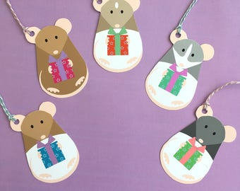 Ratty Mischief Gift Tags, Rat wrapping, christmas, birthday, pack of five, 300gsm card, handmade gift wrap, rat lover gift.
