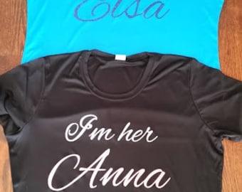 I'm Her Elsa I'm her Anna Frozen Running Shirts. Run Disney Disney Princess. Marathon and Half Marathon Running Shirts Custom Running Shirts