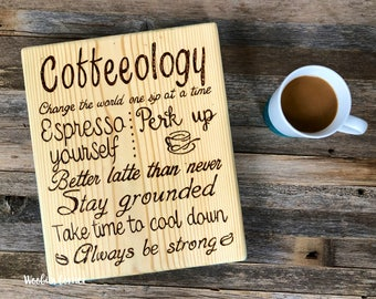 Wood coffee sign, Coffee bar sign, Rustic coffee sign, Coffee decor, Inspirational coffee, Coffeeology sign, Coffee quotes, Coffee lovers