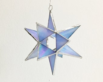 12 Point Moravian Star. Iridescent Blue Star. 4,5""