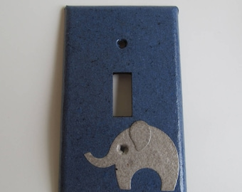 Elephant on Dark Blue Light switch Plate- single- Recycled Materials