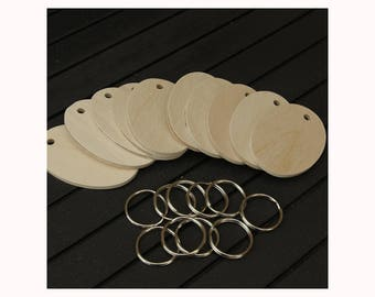 Pyrography Birch plywood Oval key fob blanks with nickel key rings pack of 10