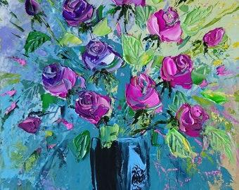 Vivian; Original palette knife oil painting; framed; roses painting; bouquet of roses