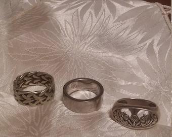 3 Irish Vintage Sterling Silver Rings