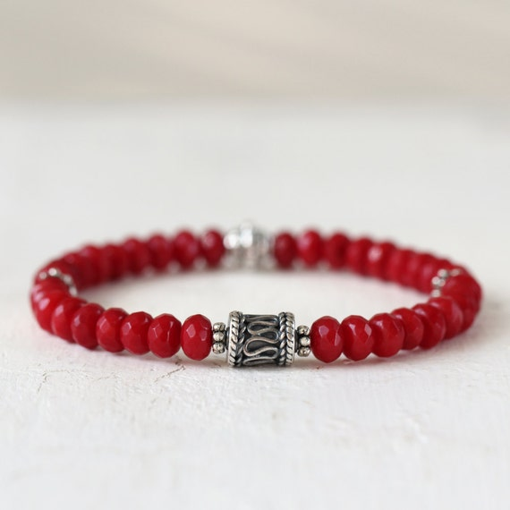 Red Coral Bracelet - Gemstone Stretch Bracelet - Silver & Red Stone Bracelet - Stacking Bracelet - Coral Jewelry - Bracelet for Her LAST ONE