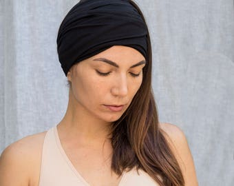 Black Headband  Bohemian Head Scarf  Hair Wrap Wide Yoga Headband Boho Head Wrap