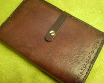 Bordeaux Leather Journal Cover With Snap Closure