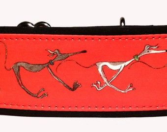 """Nellie Doodles in Bright Red 2"""" Martingale Collar-"""