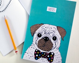 Quirky Pug Illustrated Notebook