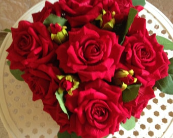 Red Velvet Silk Boxed Roses