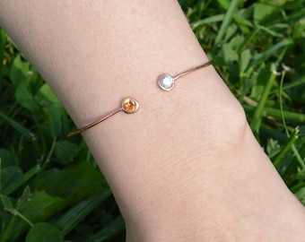 Rose Gold Plated Dual Birthstone Bangle / Sterling Silver Birthstone Bracelet / Birthstone Bracelet / Personalized Jewelry