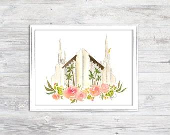 Las Vegas, Nevada LDS Temple Watercolor