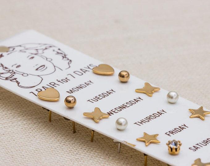 1980s Minimalist Earrings 7 Pairs of Gold Stud Earrings Vintage 80s Days of the Week Simple Earings | Heart Star Butterfly Bird 7TT