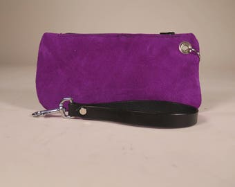 Purple Suede Change Purse with Removable Wrist Strap